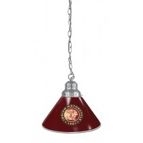 Indian Motorcycle Billiard Pendant Light Chrome finish with Burgundy Shade