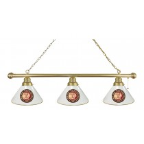 Indian Motorcycle 3 Shade Billiard Light with Brass Fixture and White Shades