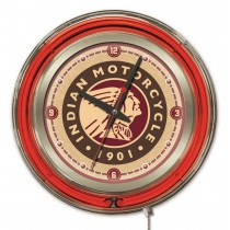 Indian Motorcycle Head Logo 15 Neon Clock
