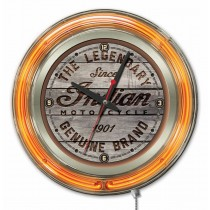 Indian Motorcycle Wood Engraved Orange Neon Clock