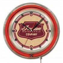 "Indian Motorcycle Shield Logo 19"" Neon Clock"