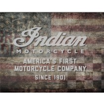 Indian Motorcycle American Flag Printed Canvas Art