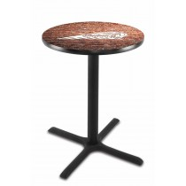 Indian Motorcycle Head Logo L211 Pub Table with Brick Wall