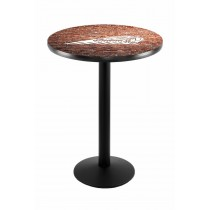 Indian Motorcycle Head Logo Black Wrinkle L214 Pub Table with Brick Wall