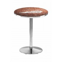 Indian Motorcycle Head Logo Chrome L214 Pub Table with Brick Wall