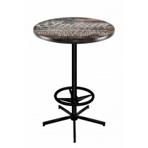 Indian Motorcycle Head Logo Black Wrinkle L216 Pub Table with American Flag