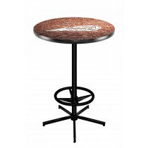 Indian Motorcycle Head Logo Black Wrinkle L216 Pub Table with Brick Wall
