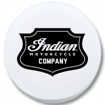 Indian Motorcycle Black Shield Badge Tire Cover on White Vinyl