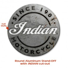Indian Motorcycle Vintage Aluminum Cutout Round Sign