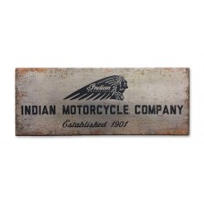 Indian Motorcycle Distressed Silver and Black Aluminum Sign