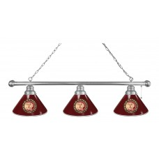 Indian Motorcycle 3 Shade Billiard Light with Chrome Fixture and Burgundy Shades