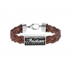 Braided Leather Bracelet w/ Silver Indian Script Logo and Lobster Clasp