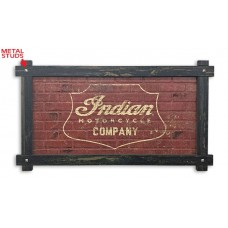 Indian Motorcycle Company Logo Sign with Wood Frame