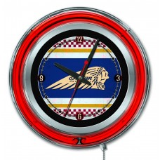 "Indian Motorcycle Cafe Racer Logo 15"" Red Neon Clock"