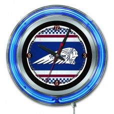 "Indian Motorcycle Cafe Racer Logo 15"" Blue Neon Clock"