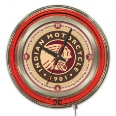 Indian Motorcycle Head Logo 15 Neon Clock