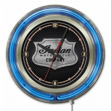 Indian Motorcycle Metal Shield Blue Neon Clock