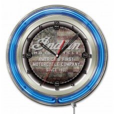 "Indian Motorcycle American Flag Logo 19"" Neon Clock"