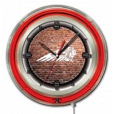 Indian Motorcycle Brick Wall Red Neon Clock