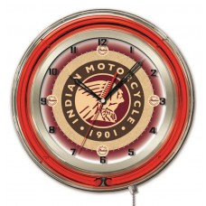 "Indian Motorcycle Head Logo 19"" Neon Clock"