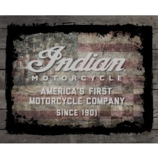 Indian Motorcycle American Flag Wood Border Printed Canvas Art