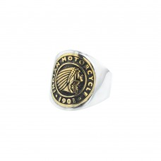 Indian Headdress Signet Two Tone Brass and Silver Coin Ring
