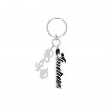 Indian Script Logo Key Fob w/ Large Motorcycle Charm