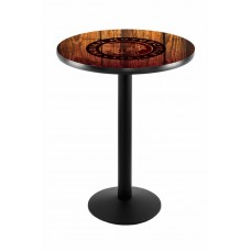 Indian Motorcycle Head Logo Black Wrinkle L214 Pub Table with Barn Wood