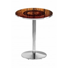 Indian Motorcycle Head Logo Chrome L214 Pub Table with Barn Wood