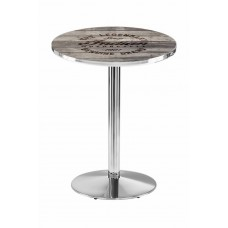 Indian Motorcycle Stainless Steel L214 Pub Table with Engraved Wood