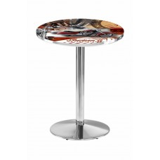Indian Motorcycle Red Collage Chrome L214 Pub Table