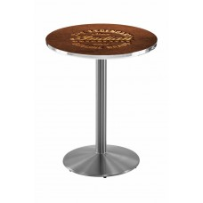 Indian Motorcycle Stainless Steel L214 Pub Table with Brown Leather