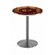 Indian Motorcycle Head Logo Stainless Steel L214 Pub Table with Barn Wood