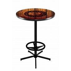 Indian Motorcycle Head Logo Black Wrinkle L216 Pub Table with Barn Wood