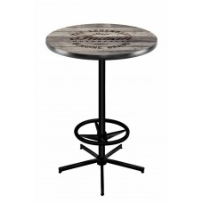 Indian Motorcycle Black Wrinkle L216 Pub Table with Engraved Wood