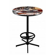 Indian Motorcycle Red Collage Black Wrinkle L216 Pub Table