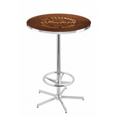 Indian Motorcycle Logo Chrome L216 Pub Table with Brown Leather