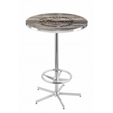 Indian Motorcycle Logo Chrome L216 Pub Table with Engraved Wood