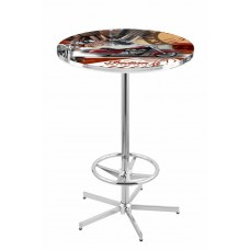 Indian Motorcycle Red Collage Chrome L216 Pub Table