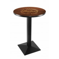 Indian Motorcycle  Black Wrinkle L217 Pub Table with Brown Leather