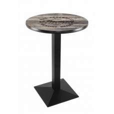 Indian Motorcycle Black Wrinkle L217 Pub Table with Engraved Wood