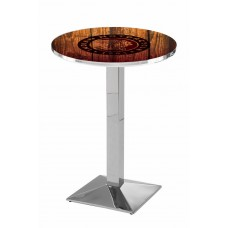 Indian Motorcycle Head Logo Chrome L217 Pub Table with Barn Wood