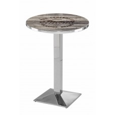 Indian Motorcycle Chrome L217 Pub Table with Engraved Wood