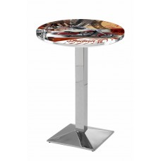 Indian Motorcycle Red Collage Chrome L217 Pub Table