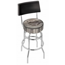 Indian Motorcycle L7C4 Retro Bar Stool with Engraved Wood