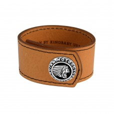 Leather Cuff With Indian Logo Silver Button Brown
