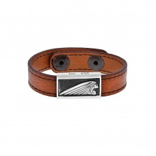 Leather Bracelet w/ Silver Indian Headdress or Font Logo Sleeve Brown