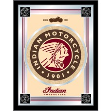 Indian Motorcycle Logo Mirror Tan Background