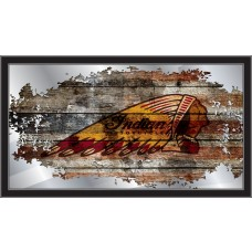 Indian Motorcycle Collectors Mirror Indian Head on Distressed Wood with Flag