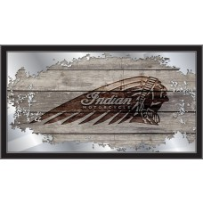 Indian Motorcycle Collectors Mirror with distrressed barn wood and Indian Headdress